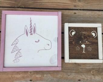 Unicorn  bear  hand painted wood sign