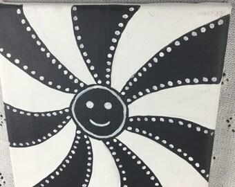 "Black and white painting for nursery, sensory development, original acrylic painting: ""The baby sun"""