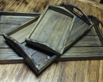 Wooden Serving Trays - set of 3