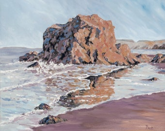 East Bay, North Berwick - Limited Edition Giclee, beach painting, seascape, seascape, coastal, East Lothian, Scotland, scenery, Scottish Art