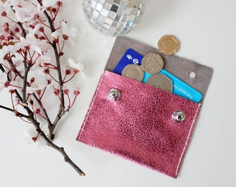 SALE! Metallic Barbie Pink Pouch Purse Made From Italian Leather