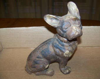 Vintage Hubley Cast Iron French Bulldog  DOOR STOP very nice RUSTIC, Beautiful antique