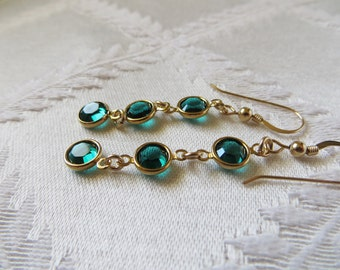 Gold Filled Drop Earring with Emerald Green Gold Plated Charms, GE-185