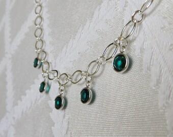 Sterling Silver Oval Chain & Swarovski Emerald Charm Necklace, SN-197