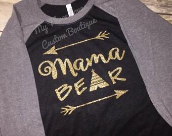 Mama Bear Raglan, mama bear shirt, mama bear, baseball tee, for her, for mom, Mothers Day, mom shirt, triblend, arrow shirt, mom to be, baby