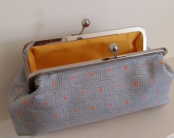 Grey or pink  cotton clutch bag