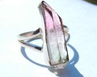 Watermelon Quartz Silver Bezel Ring [Size 8 US] / Beautiful Pink and Green Gradient