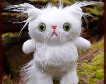 Handmade White Plush Cat - OOAK- cat plushie - stuffed cat - cat stuffed animal - stuffed toy -plush doll -cat doll