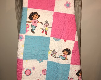 Pieced Dora the Explorer Toddlers Quilt
