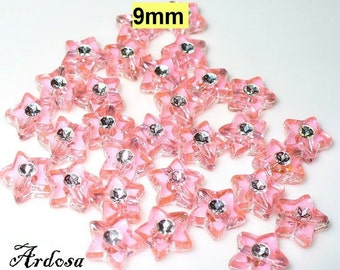 30 acrylic beads 9mm Star Pink (642.24)