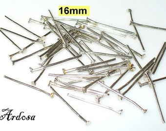 100 pins 16 mm silver metal colors (12.16.100)