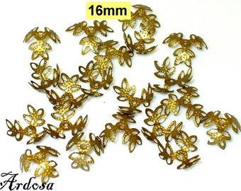 20 bead caps bronze filigree 16 mm 3 Blade (55.16)