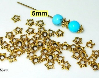 50 bead caps gold solid 5 mm (K54. 5.1)