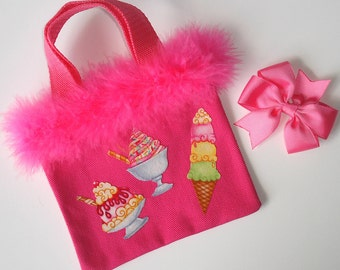 Girls Hot Pink Canvas Tote Bag Ice Cream Appliques Grosgrain Hair Bow Feather Boa Trim
