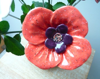 Ceramic flower coral and plum for the home