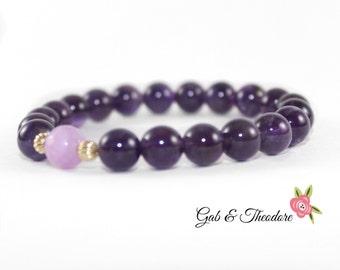 Amethyst women bracelet, purple women bracelet, beaded purple bracelet, pirple bracelet