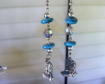 Blue Beads an Boots Earrings