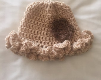 Crochet hat with flower you choose colors and size