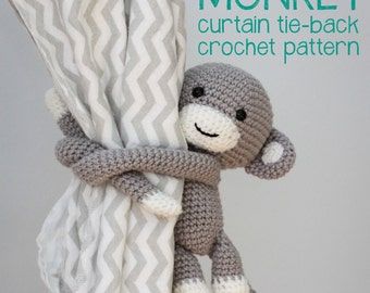 Cheeky Monkey curtain tie back crochet pattern