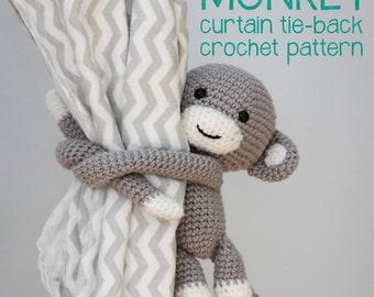 Cheeky Monkey curtain tie back crochet pattern