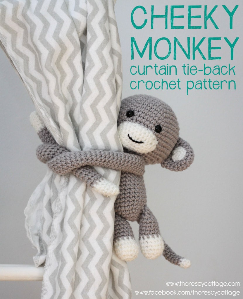 Cheeky Monkey Amigurumi Crochet Pattern : Cheeky Monkey curtain tie back crochet pattern