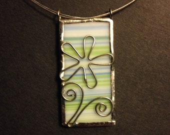 Blue, green and white stained glass necklace