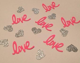 Love and Heart Confetti Pink Silver Confetti Glitter Confetti Shower Confetti Wedding Confetti Anniversary Confetti Pink and Silver