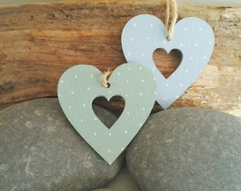 Decorative Spotty Hearts. Two hand painted polka dot hanging hearts. Wedding favours. Gift tags. Best friend.