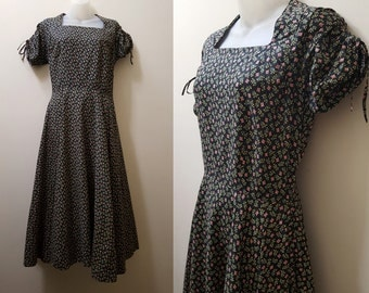 1950s Dress // 50s Green and Pink Floral Cotton Day Dress Medium