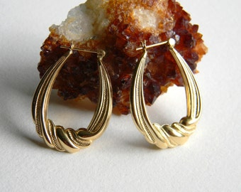 Vintage Beaded Twist 14K Gold Earrings 3.3 Grams - Retro Hoop 14K Gold Earrings - Pierced 14K Yellow Gold Earrings
