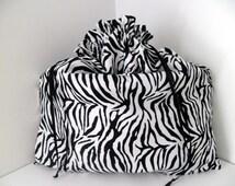 "Purse Dust Bag Zebra Print Microfiber Fabric Black and White ~ Purse Handbag Sleeper Dust Cover ~ 20"" W x 21"" H ~ Microfiber Drawstring Bag"