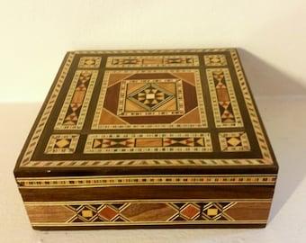 Mosaic Inlaid Wooden Box