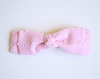 Baby Girl / Toddler Bow, Pink Swiss Dot