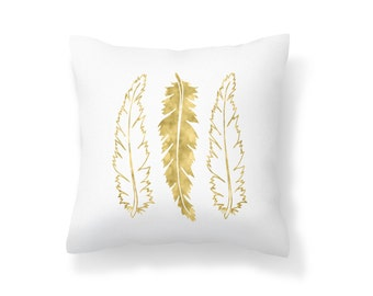 Throw Pillow Feather, Decroative Pillow, Feather Pillow, white pillow, gold pillow, gold feather, white feather