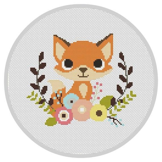 Fox Nursery Baby Cross Stitch Pattern Modern Cross Stitch
