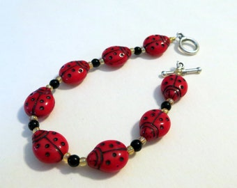 Lucky Lady Bug bracelet Czech glass beads sure to bring you luck