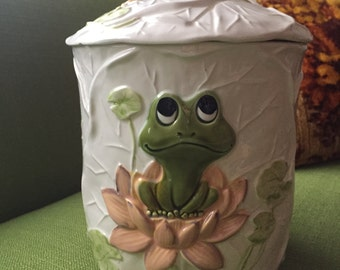 A Vintage 70s Sears and Roebuck Ceramic Neil the Frog Cookie Jar