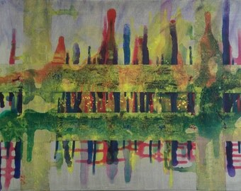 Bustling city, Original abstract art painting