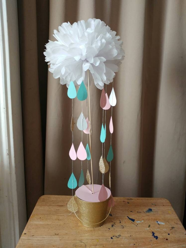 Cloud and rain drops centerpiece for baby by allthemespossible for Cloud centerpieces
