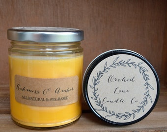 Oakmoss & Amber Soy Candle, Scented Soy Candle, 8 oz Jar, 4 oz. Jar, Hand Poured Soy, Soy Candle