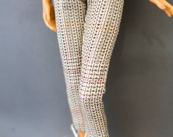 Tailored Pink Plaid Pullip Pants in Blue and yellow abstract print darts waistband Pullip Blythe Dal fitted exciting athletic dollpants