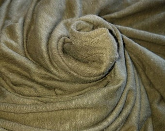 "Linen 55% Cotton 45 jersey Eco-friendly natural fiber blends ""Sea-weed Green"" by the yard"