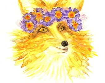 Fox Original Watercolor  Painting, Beautiful female Fox with a floral bouquet of flowers on her head, artwork Modern home Décor