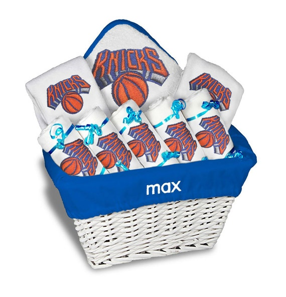 Baby Gift Baskets New York : Personalized new york knicks baby gift basket bibs burp