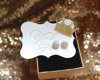 Beautiful Crystal Studded Earrings, Customizable- Baby Shower Favor, Party Favor