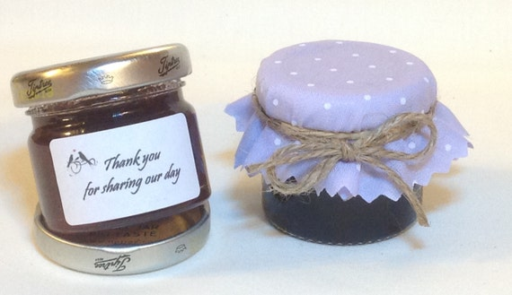 50 x wedding favour fabric mini jam jar lid top covers. Black Bedroom Furniture Sets. Home Design Ideas