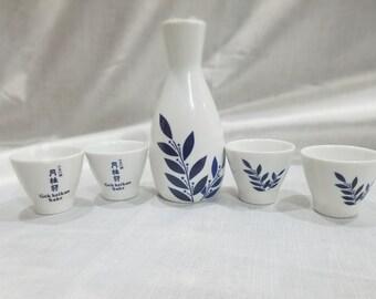 Exquisite Ceramic Blue Flowers Sake Set
