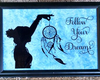 Follow Your Dreams, girl with dream catcher, framed, ready to hang