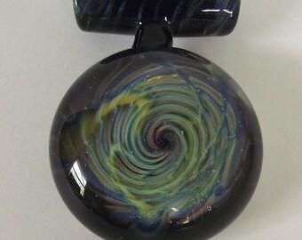 Hand Blown Handmade Lampwork Glass Universe Pendant Focal Bead USA MADE