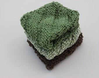 Cotton Knit Dishcloths, 100 Percent Cotton, Earth Tones, Set of 3, Cotton Dish Rags